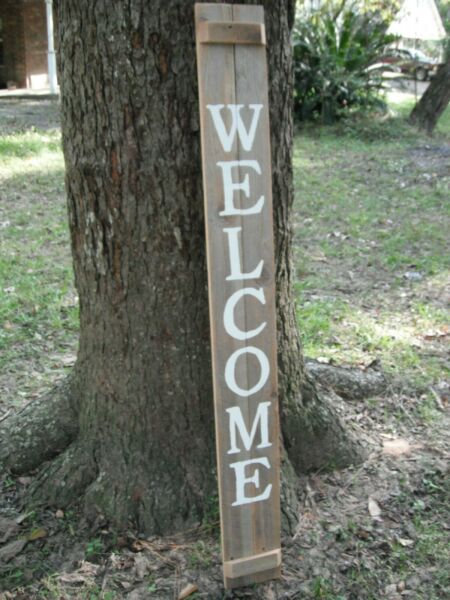 Wood Door Sign WELCOME Porch Vertical Weathered Farmhouse Handmade 48quot; X 5.5quot; $29.99