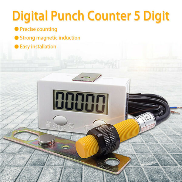 5 Digit Digital LCD Electronic Punch Counter With Switch Resetamp;Pause Button New