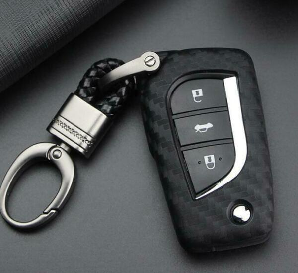 For Toyota Camry Carbon Fiber Smart Car Key Case Cover Fob Holder Accessories $9.36