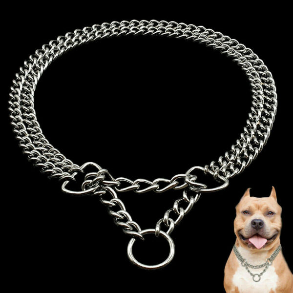 Chrome Martingale Collars for Dogs Training Show Chain Pet Choke Collar Silver $15.99
