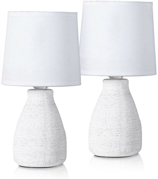 Set of 2 BRUBAKER Table or Bedside Lamps - White - Ceramic Base - 11 Inches