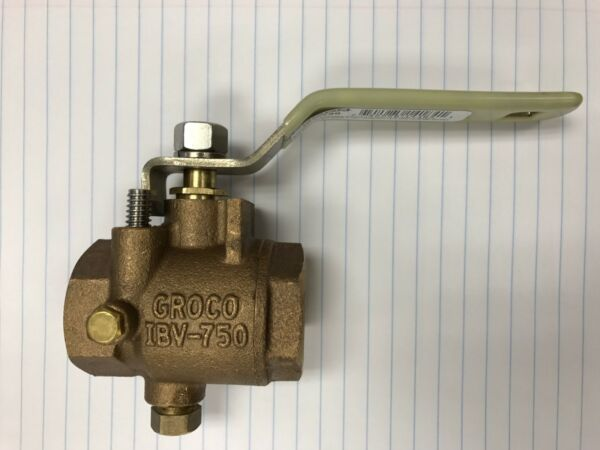 FULL FLOW IN LINE BALL VALVE GROCO IBV750 BRONZE 3 4 IPS MARINE PLUMBING PIPE