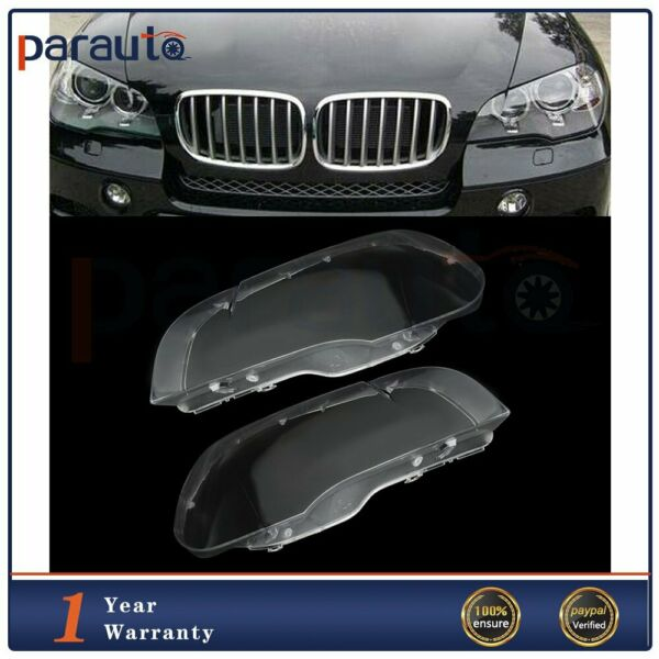 2X Headlight Lens Replacement Cover White Front Fit For 2008-2014 BMW X6 E71