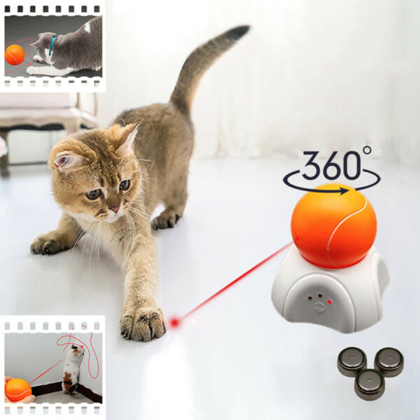 Pet Cats Kitten Funny LED Lasering Tennis Ball Automatic Rotating Exercise Toys