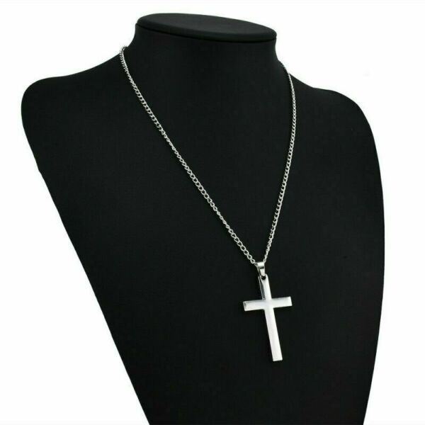 USPS Stainless Steel Cross Pendant Necklace for Men Women Free Chain 20quot; Silver