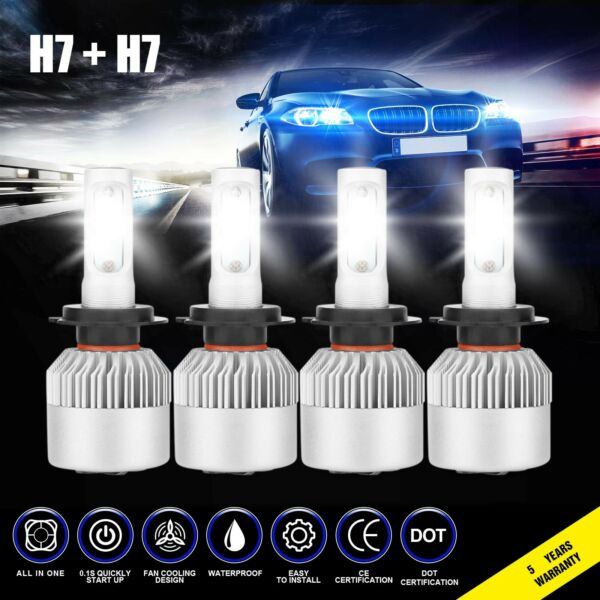 4x H7 H7 3830W 574500LM Combo LED Headlight High Low Beam Bulbs 6000K White