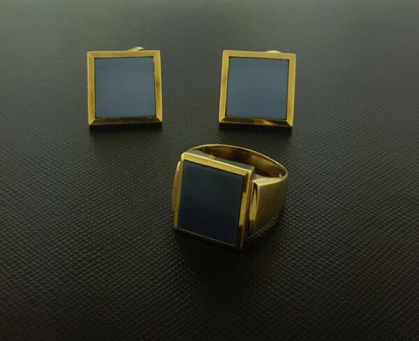Cufflinks Ring Set Silica Mineral Quartz Light Blue Color Stone 14K Yellow Gold