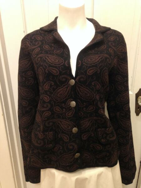 Willi Smith Paisley Cardigan Sweater Jacket SZ  L Brown Black Metal Buttons