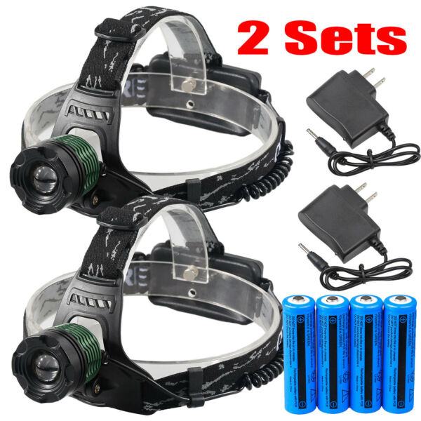 Tactical 950000LMS Zoomable T6 LED Headlamp Focus Head Light Torch 18650+Charger
