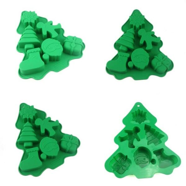 Mould Christmas Tree Silicone Mold Decor 6 Holes Chocolate Fondant Baking Tools