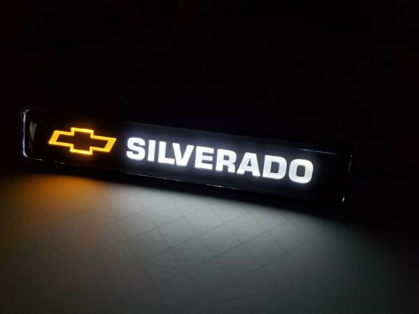 SILVERADO LED Logo Light Car For Front Grille Badge Illuminated Decal Sticker