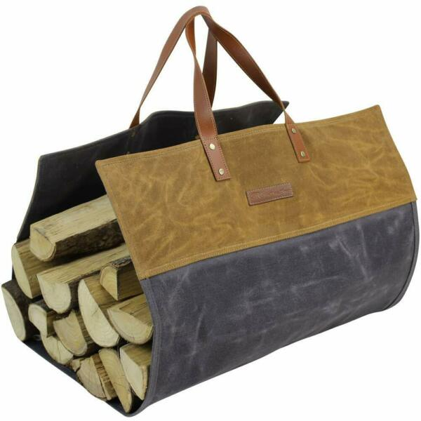 Firewood Carrier Waxed Canvas Log Wood Carrying Bag Durable Handles Firepalce