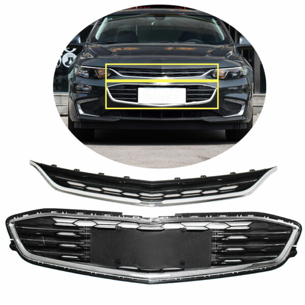 Honeycomb Mesh Grill Front Bumper Upperamp;Lower Grille For Chevy Malibu 2016 2018