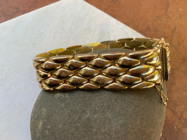 14 KT Yellow Gold Shiny Panther Brick Link Wide Bracelet Heavy Flat Estate 18 MM