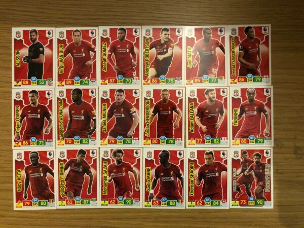 PANINI PREMIER LEAGUE 201920 FULL TEAM SET OF ALL 18 LIVERPOOL CARDS MINT