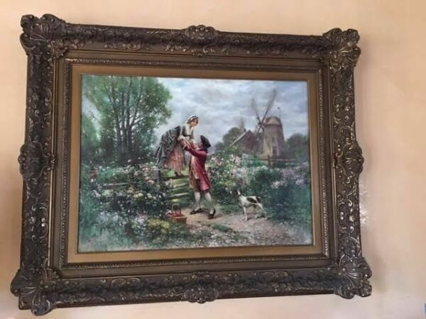 Large Edward Percy Moran Original Painting and Frame