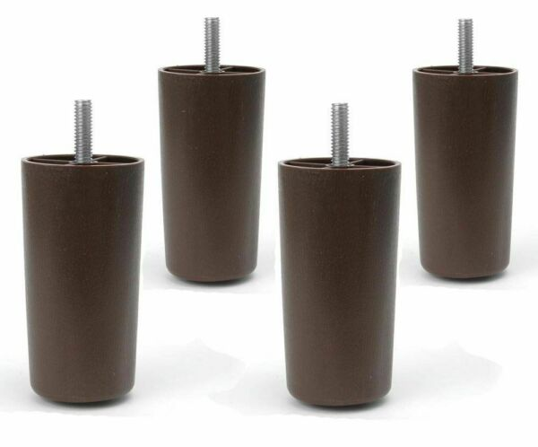 4 Universal Dark Brown 4quot; Round Legs Plastic Furniture Feet Sofa Couch Chair $5.50