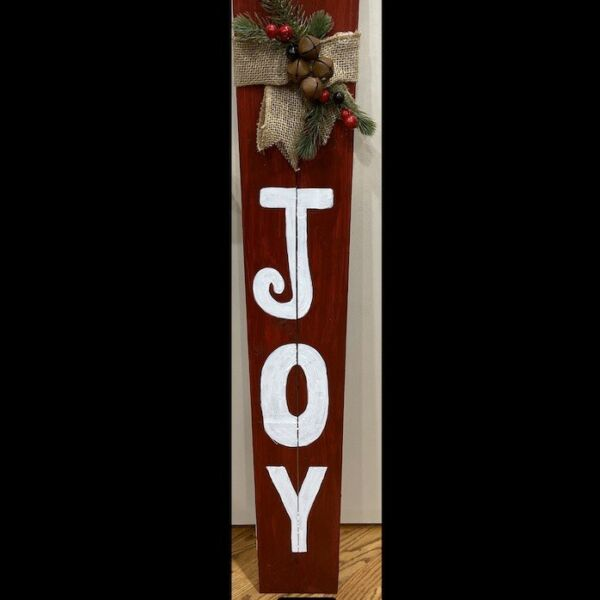 Handmade Outdoor Wooden Sign Seasonal Decor Red White Joy Gift Holiday Rustic