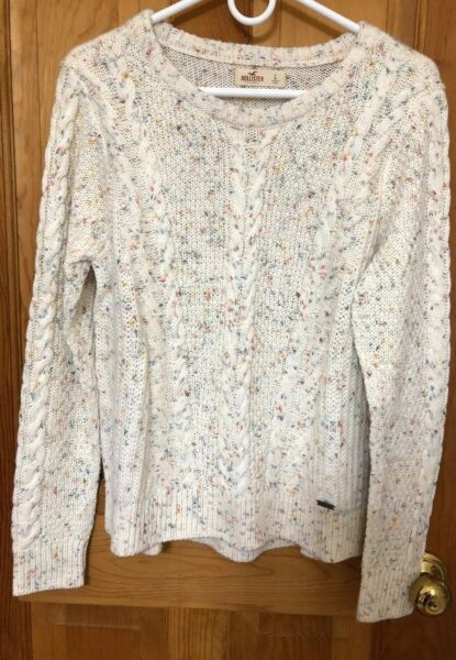 NWT Hollister Ivory Speckled Cable Knit Sweater Womens Large