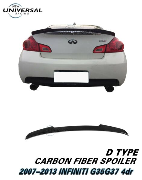 Carbon Fiber Trunk Spoiler For 2007-2013 INFINITI G25 G35 G37 Q40 Sedan Type D