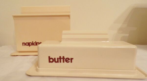 Tablemates Plastic Beige Napkin Holder amp; Covered Butter Dish Vintage