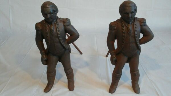 ANTIQUE PRIMITIVE GEORGE WASHINGTON FIGURAL CAST IRON FIREPLACE ANDIRONS