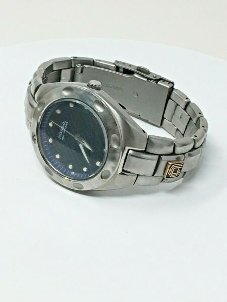 Fossil PR5098 Applied Materials 10k Gold Chip Stainless Blue Carbon Watch $69.99