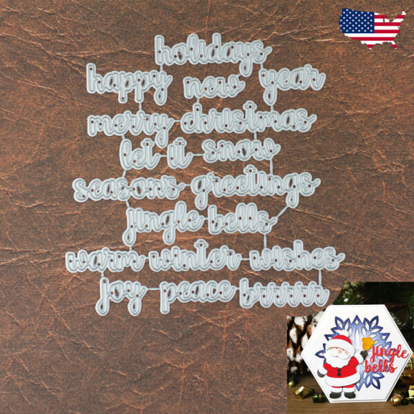 Winter and Holiday Words Cutting Die Set - Let It Snow Jingle Bells Brrrrr +More