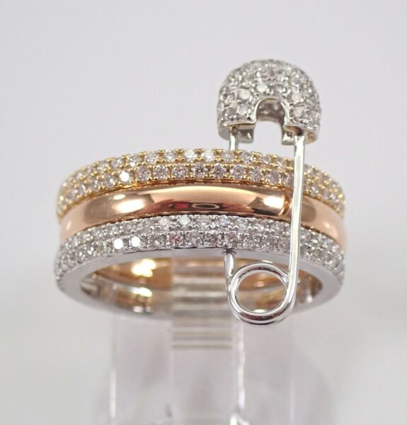 18K White Rose Yellow Gold Diamond Three Stackable Ring Band Safety Pin Ring