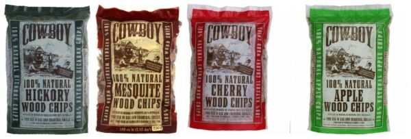 COWBOY BBQ Smoking Wood Chips Variety Pack Bundle Apple Mesquite Hickory Cherry