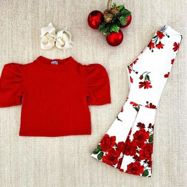 US Toddler Baby Girls Knitted Top T-shirt+Flare Pants Kids Casual Clothes Outfit
