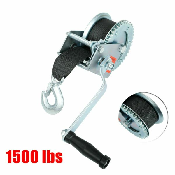 1500 lb Manual Trailer Winch with Hook and 20#x27; Strap Hand Crank Boat Pull Tow $29.86