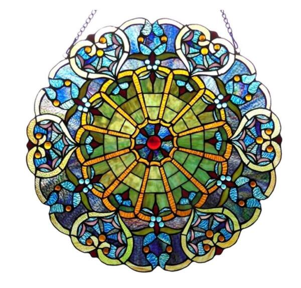 Stained Glass Chloe Lighting Victorian Window Panel 23quot; Diameter Handcrafted New