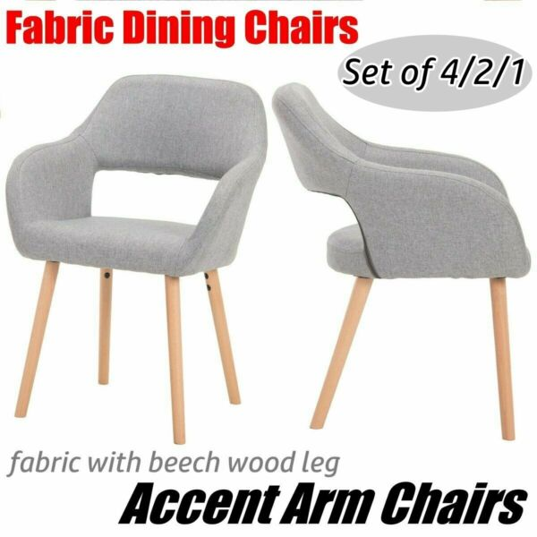 Set of 2 Accent Arm Chairs Fabric Dining Chairs Upholstered w Wood Legs Bar