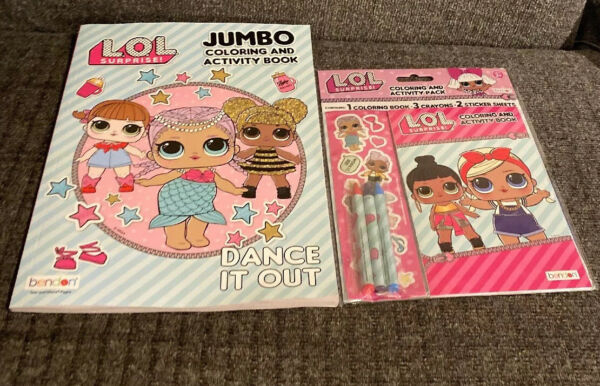 LOL Surprise Jumbo Coloring Activity Book & Coloring Pack With Crayons Stickers
