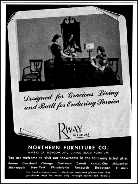 1945 Rway Northern furniture co women dining table vintage photo print Ad  adL58 $9.95