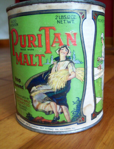 RARE! VINTAGE TIN CAN 'PURITAN MALT' GREAT GRAPHICS 'DRESS BLOWS IN WIND' LABEL