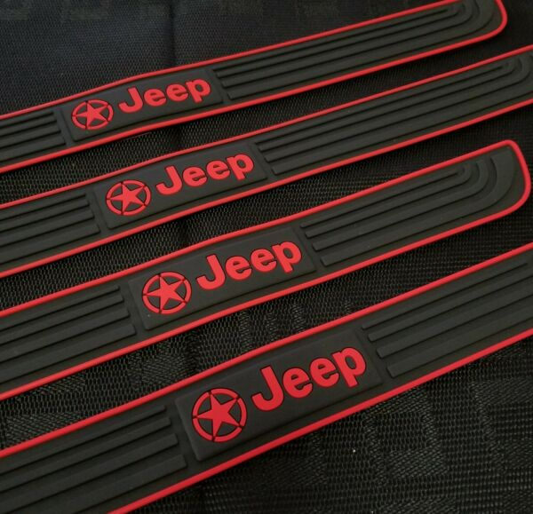 4PCS Black Rubber Car Door Scuff Sill Cover Panel Step Protector For Jeep