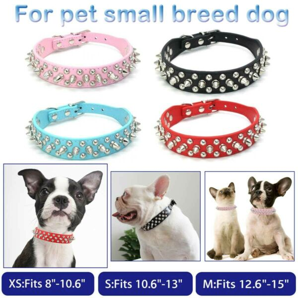 Small Dog Spiked Studded Rivets Dog Pet Faux PU Leather Collar Toy Small M XS $10.97