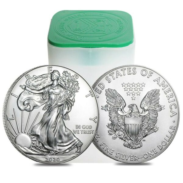 Roll of 20 2020 1 oz Silver American Eagle $1 Coin BU Lot Tube of 20