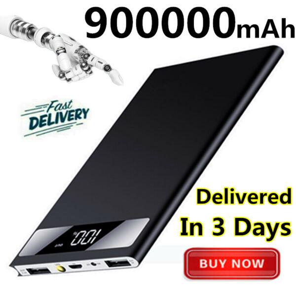 Ultra-thin 900000mAh Power Bank Portable Polymer External Battery Fast Charger