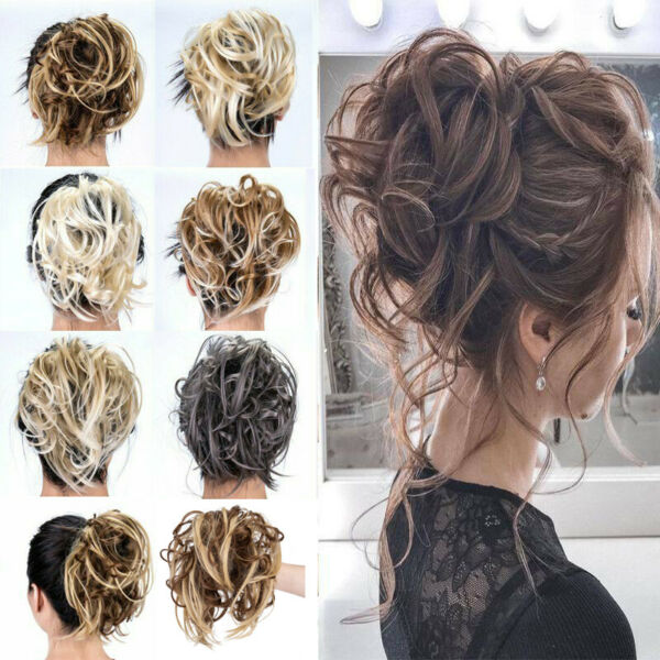 Large Tousled Messy Bun Hair Piece Scrunchie Pony Tail Hair Extensions Natural $8.99