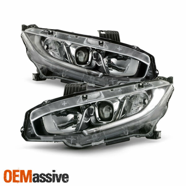 For 16-20 Honda Civic DX EX EX-L EX-T LX LX-P Halogen Projector Chrome Headlight