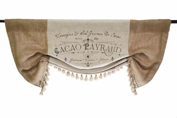 French Country Script Linen And Burlap Valance For A Regular Bay Or Bow Window