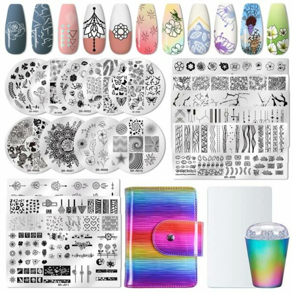 Reusable Nail Art Stamping Stamper Kit With Image Plate Scraper Manicure Tool