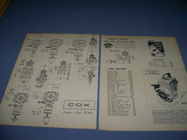 1965 COX ENGINES TEE DEE DRAWINGS...DETAILS COST 1 VIEWS.. 466V $7.99