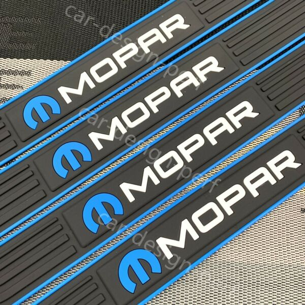 4PCS MOPAR Black Rubber Car Door Scuff Sill Cover Panel Step Protector Universal