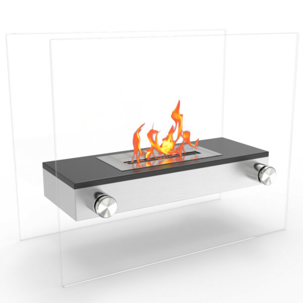 Regal Flame Alor Stainless Ventless Free Standing Ethanol Fireplace in Black