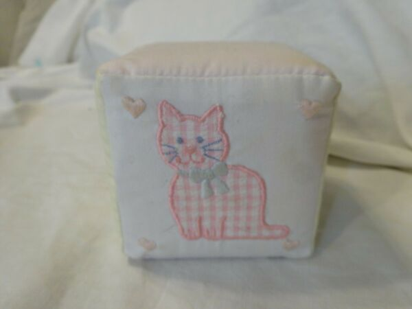 Vintage HOUSE of HATTEN Inc. Fabric Block Jingle Bell KITTY CAT Baby Toy
