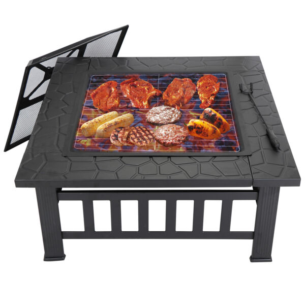 32quot; Wood Burning Fire Pit Outdoor Garden Patio BBQ Grill Square Stove W Cover